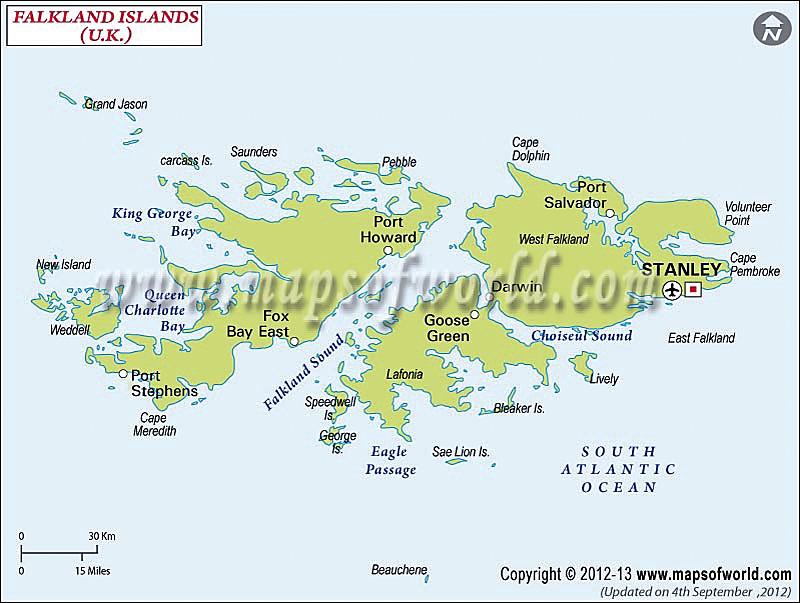 Capital Of Falkland Island Map