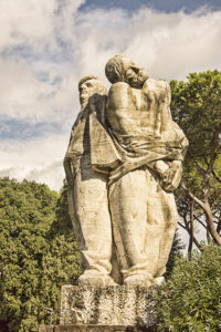Statue in front of the Fosse Ardeatine