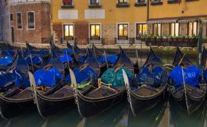 A row of gondolas in the Bacino Orseolo, Venice
