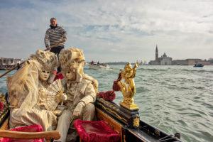 Gondola near the entrance of the grand canal Venice