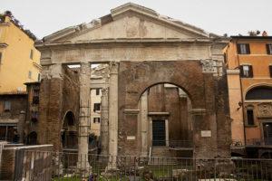 The recently restored Roman Portico d'Ottavia