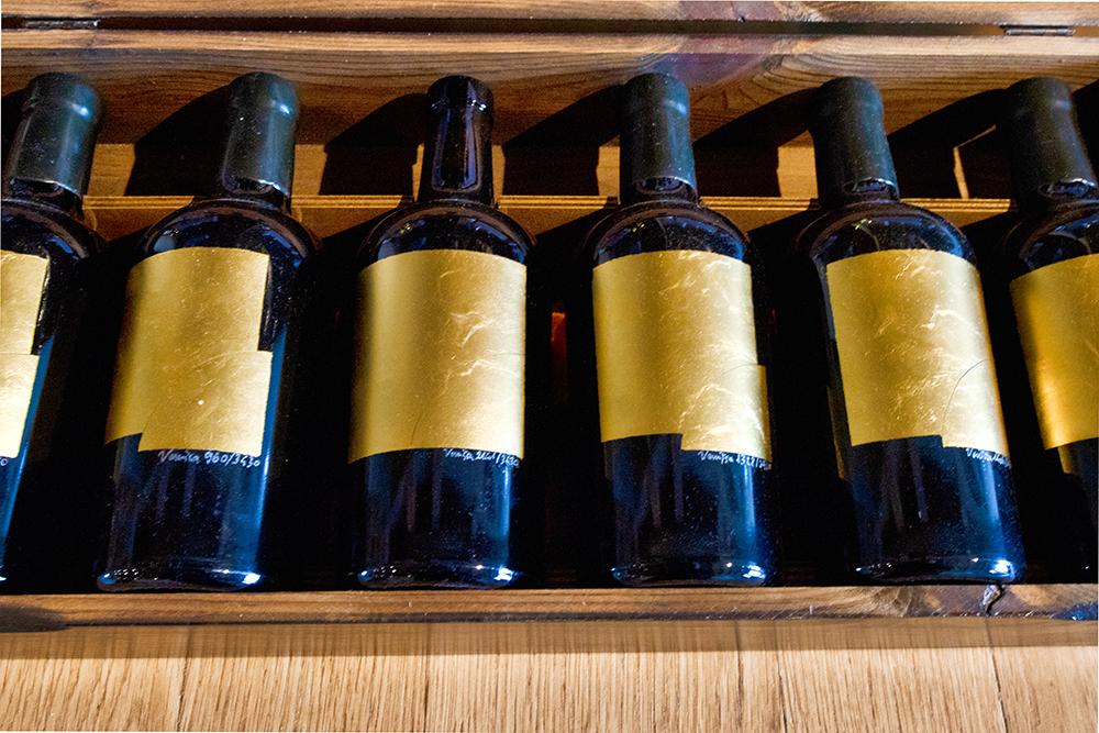 A box of Dorona di Venezia wine bottles